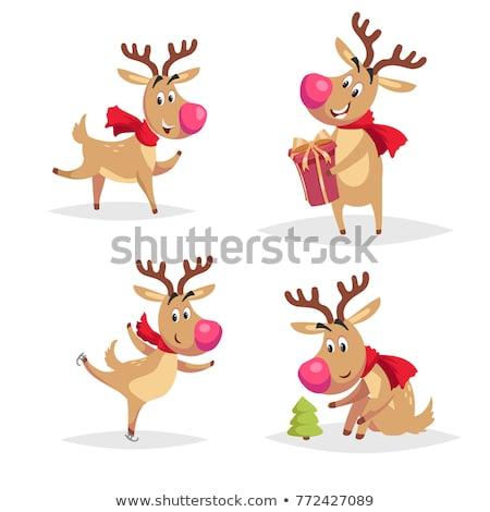 merry christmas the red nosed reindeer on skates in christmas snow scene winter landscape stock photo © ori-artiste