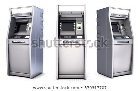 bankautomata · gép · fehér · üzlet · képernyő · pénzügy - stock fotó © lenm