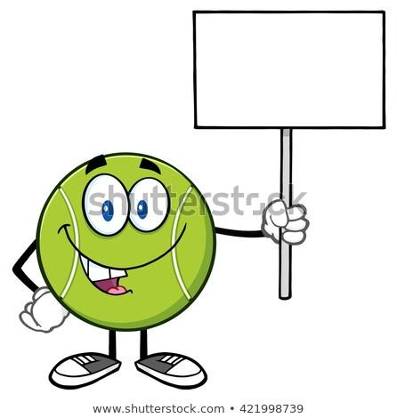 Teniszlabda rajzfilm kabala karakter tart felirat izolált Stock fotó © hittoon