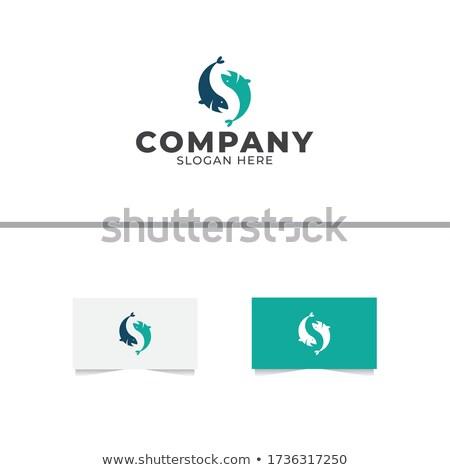 Stok fotoğraf: Mavi · balık · mektup · logo · ikon · simge