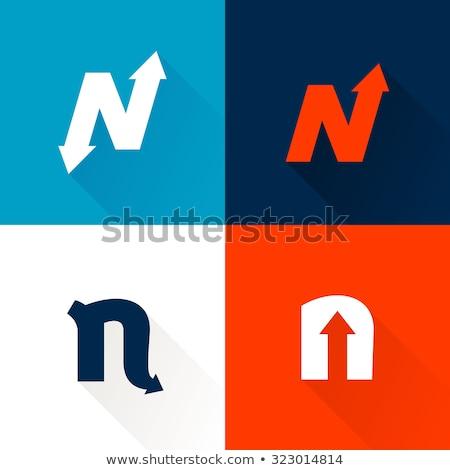Vermelho azul logotipo ícone Foto stock © blaskorizov