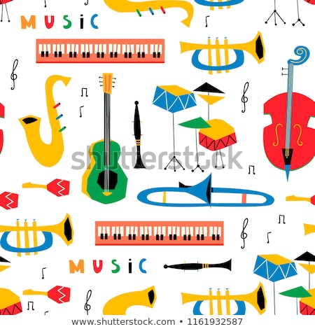 Trumpet with music notes in background Stock photo © colematt