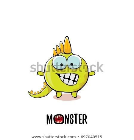 Verde dinosaurio cara feliz ilustración sonrisa huevo Foto stock © colematt