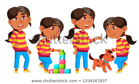 Girl Kindergarten Kid Poses Set Vector. Baby Expression. Life. For Postcard, Announcement, Cover Des Stock photo © pikepicture