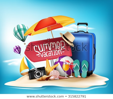 Foto stock: Summer Time Poster With Items Vector Illustration