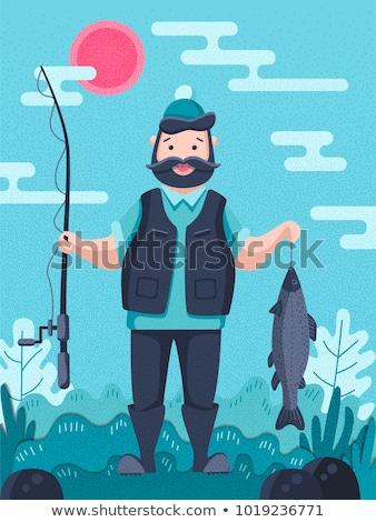 рыбалки человека плакатов набор текста мужчины Сток-фото © robuart