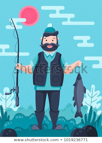 Vissen man posters ingesteld tekst mannelijke Stockfoto © robuart