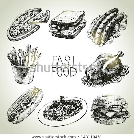 Stockfoto: Fast · food · ingesteld · vector · monochroom · schets