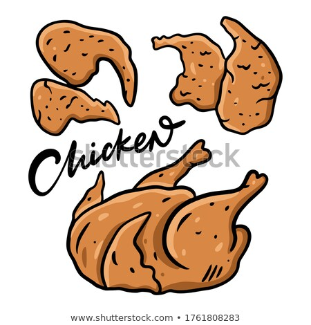 Fried Chicken and Sauce Poster Vector Illustration Stock photo © robuart