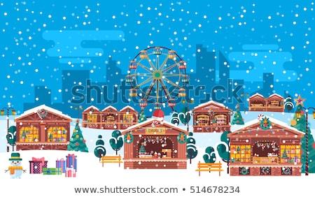 Noël juste bâtiments vecteur grande roue maisons Photo stock © robuart