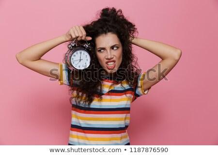 Foto zangado mulher 20s cabelos cacheados Foto stock © deandrobot