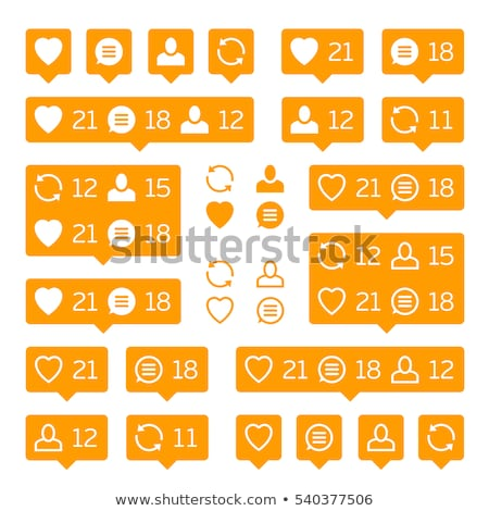 Social network icons, tooltips, speech bubbles, likes, followers and subscribers Stock photo © MarySan