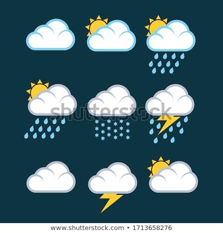 Fırtına gök gürültüsü bulut simgesi vektör simge dizayn Stok fotoğraf © blaskorizov