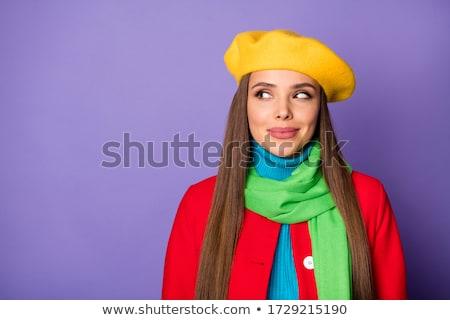 沈痛 若い女性 赤 帽子 立って ストックフォト © deandrobot