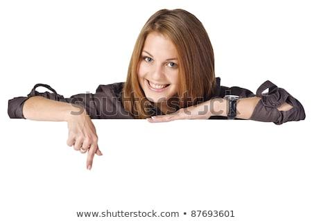 Stockfoto: Jonge · zakenvrouw · permanente · lege · teken