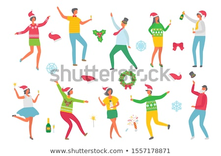 christmas party people and symbolic winter images stock photo © robuart