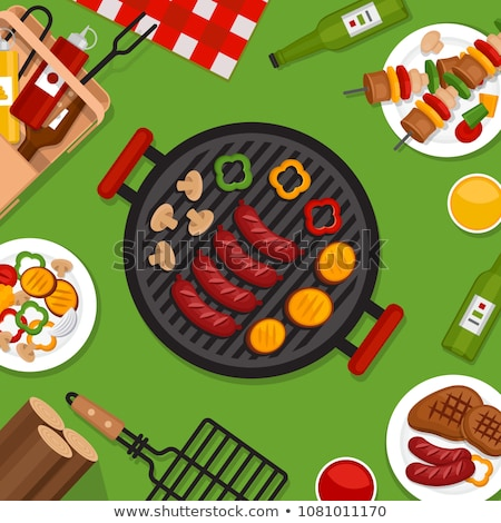 Ketchup barbecue vector cartoon stijl banner Stockfoto © robuart