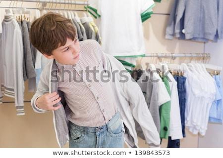 Fiú ruházat ruházat bolt lány boldog Stock fotó © galitskaya