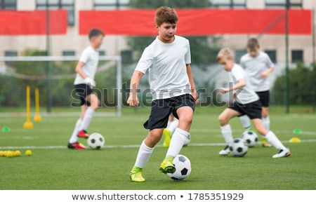 Young Football Player Kicking Ball on the Soccer Pitch Stock photo © matimix