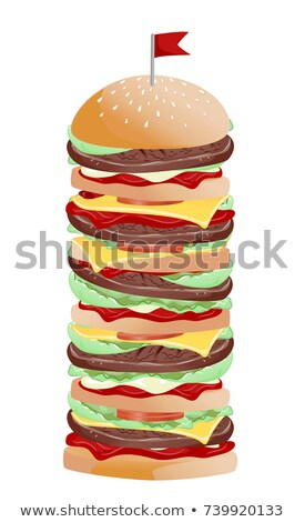 Burger Loaded Toppings Illustration Stock photo © lenm