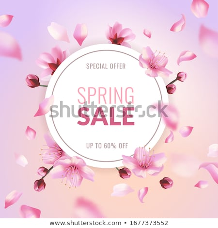 Spring Sale with pink flying petals. Web banner or poster for e-commerce, on-line cosmetics shop, fa Stock photo © ikopylov