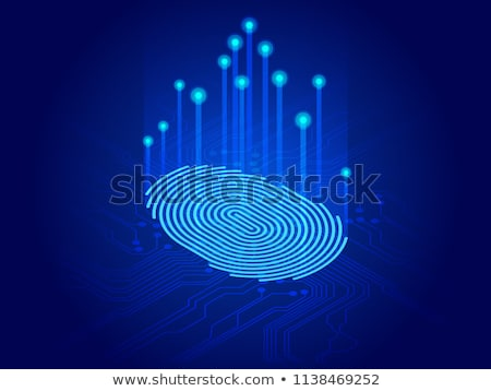 digital modern identify and measuring the bright fingerprint. security, password control through fin Stock photo © kyryloff