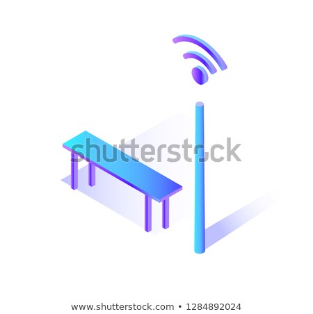Wifi Connecting Hot Spot with Bench to Sit Icon Stock photo © robuart