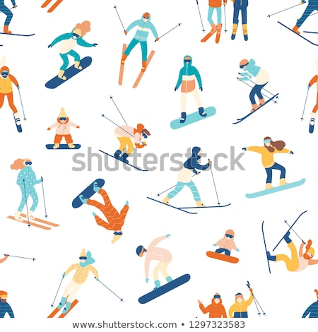 Snowboard seamless background. Winter ski pattern design with snowboards mask goggles and typography Stock photo © JeksonGraphics