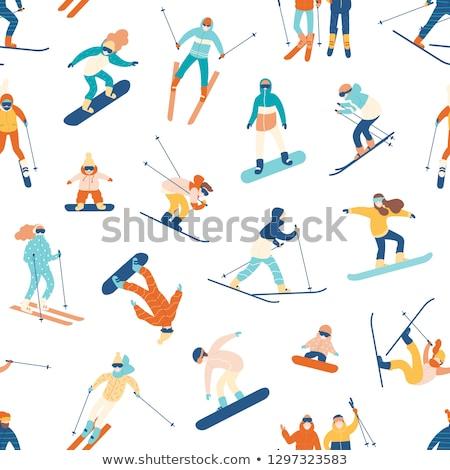 hódeszka · ikon · téli · sport · háttér · jég · tél - stock fotó © jeksongraphics