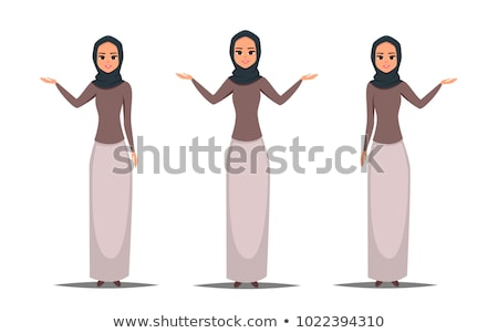Arab woman in white hijab presenting something cartoon vector il Stock photo © NikoDzhi