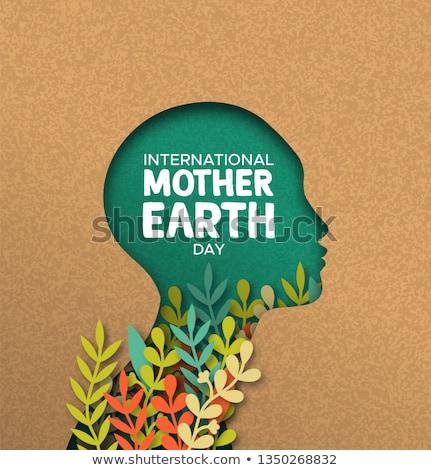 Föld napja kártya nő fej levelek nemzetközi Stock fotó © cienpies