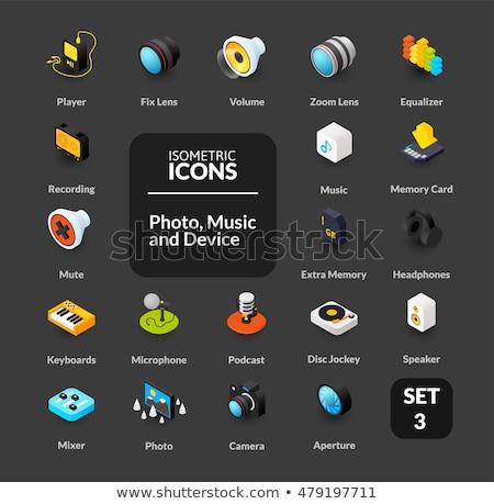 DJ color isometric icons Stock photo © netkov1