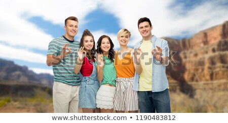 friends showing ok hand sign over grand canyon Stock photo © dolgachov