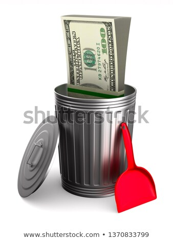 Garbage basket with dollars on white background. Isolated 3D ill Stock photo © ISerg