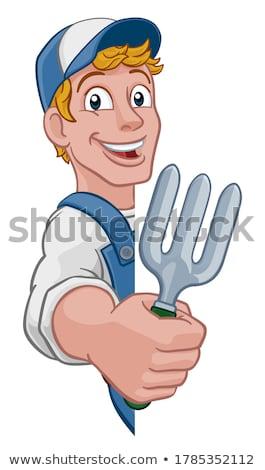Gardener Garden Fork Tool Handyman Cartoon Man Stock photo © Krisdog