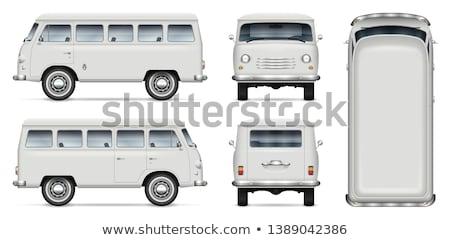 Retro mini furgon vektor vázlat öreg Stock fotó © YuriSchmidt