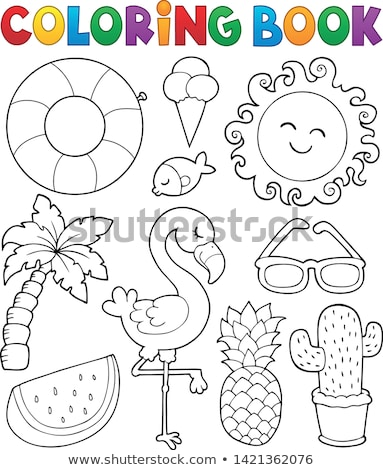 Coloring book summer animals theme set 1 Stock photo © clairev
