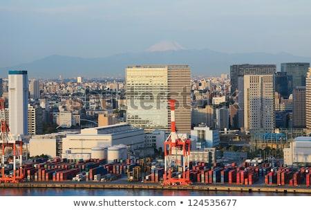 industriële · haven · kraan · zonsondergang · haven · gebouwen - stockfoto © vichie81