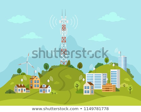 Transmission cellular towers, satellite communication antenna si Stock photo © Winner