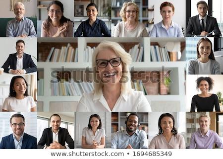 Empresário vídeo laptop escritório colegas híbrido Foto stock © AndreyPopov