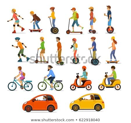 Ludzi jazdy eco samochody jazda konna zestaw Zdjęcia stock © robuart