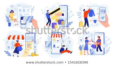 Emberek vásárol online bolt okostelefonok vektor ügyfelek Stock fotó © robuart