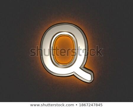 Stock fotó: Citromsárga · betűtípus · q · betű · 3D · 3d · render · illusztráció