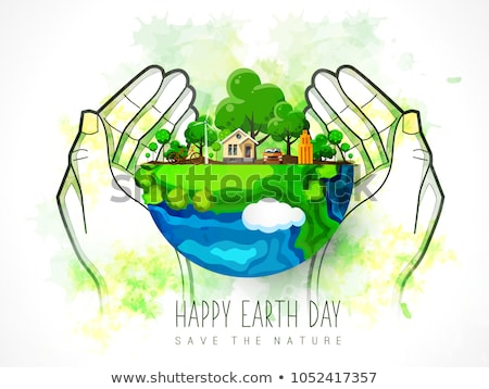 Environment Day banner of green recycle symbol  Stock photo © cienpies