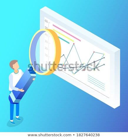 Worker Researching Graph with Loupe, Growth Vector Stock photo © robuart