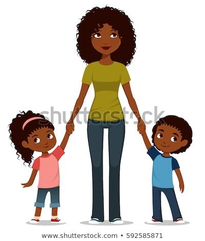 Afro amerikai anya ikrek babák nő Stock fotó © Imaagio