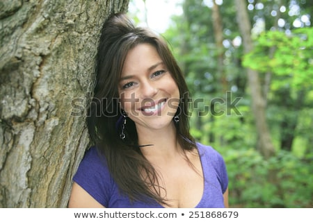 Belo 30 anos velha em pé floresta primavera Foto stock © Lopolo