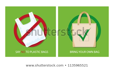 Pollution problem concept. Say no to plastic bags, bring your own textile bag. Vector illustration. Stock photo © ikopylov