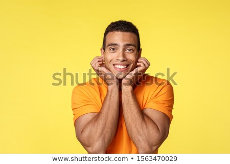 Romance and love concept. Romantic and tender silly handsome masculine man on date with boyfriend, l Stock photo © benzoix