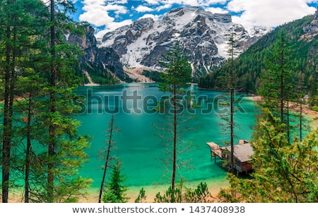 Lago di Braies turquoise water and Dolomites Alps panoramic view Stock photo © xbrchx